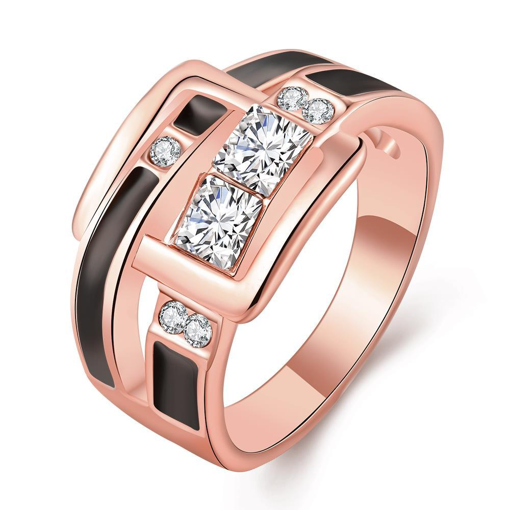 Vienna Jewelry Rose Gold Plated Onyx Belt Buckle Band Ring Size 8
