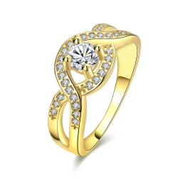 Vienna Jewelry Gold Plated Bow-Tie Crystal Input Ring - Thumbnail 0