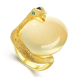 Vienna Jewelry Gold Plated Snake Egg Inspired Ring Size 8 - Thumbnail 0