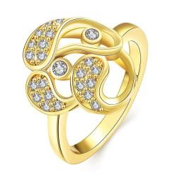 Vienna Jewelry Gold Plated Trio-Matrix Ring - Thumbnail 0