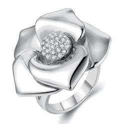 Vienna Jewelry White Gold Plated Blossoming Floral Petal Ring Size 7 - Thumbnail 0