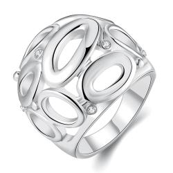 Vienna Jewelry White Gold Plated Laser Cut Circular Hollow Ring Size 7 - Thumbnail 0