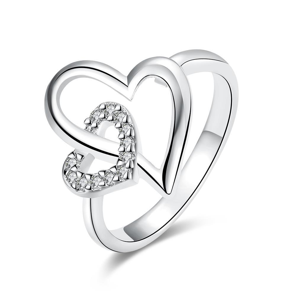 Vienna Jewelry White Gold Plated Hollow Double Hearts Ring