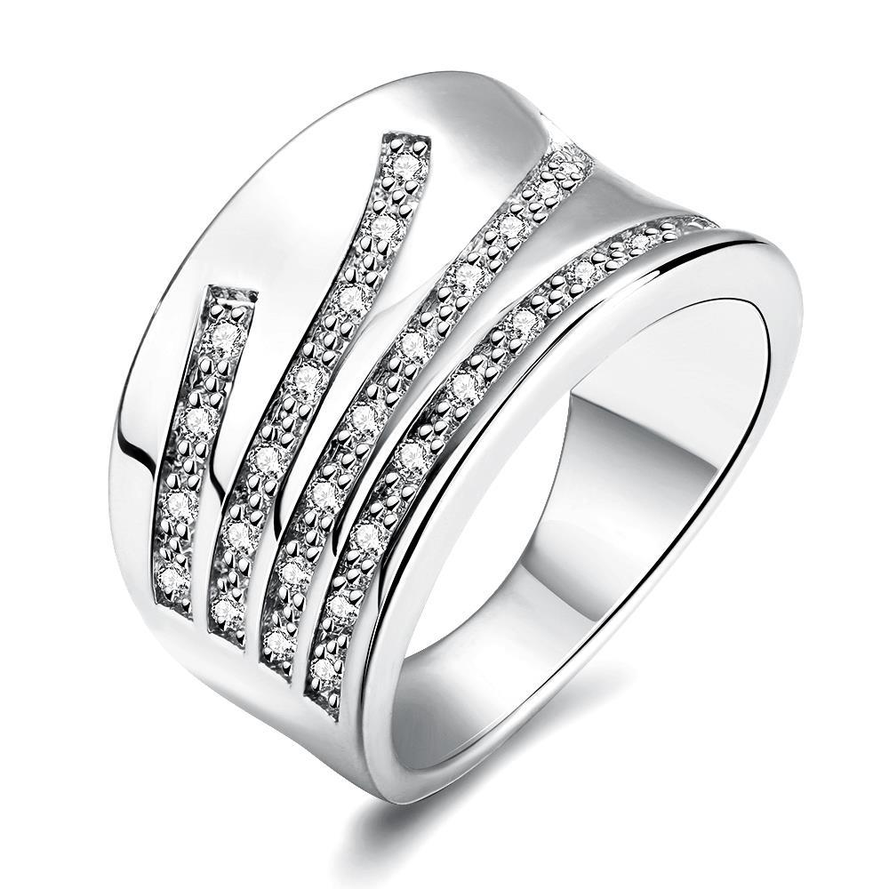 Vienna Jewelry White Gold Plated Five Jewels Line Ring
