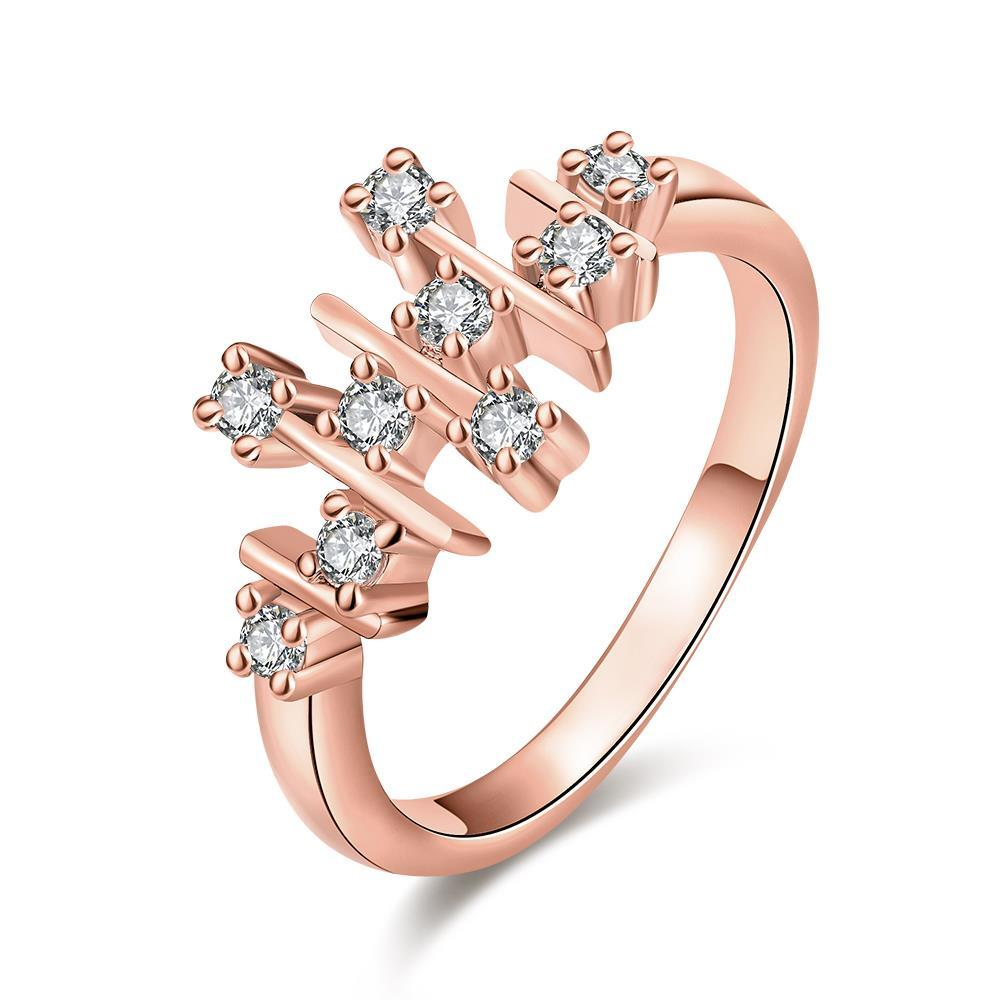 Vienna Jewelry Rose Gold Plated Horizontal Lined Ring