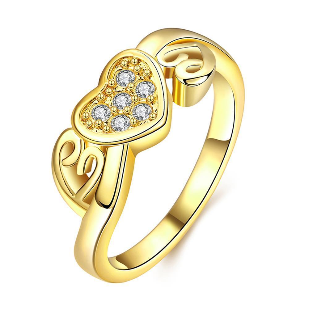 Vienna Jewelry Gold Plated Petite Valentines Love Ring