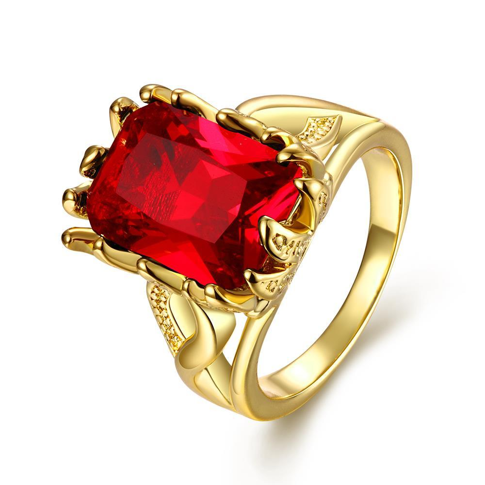 Vienna Jewelry Gold Plated Thick Cut Ruby Gem Ring - Thumbnail 0