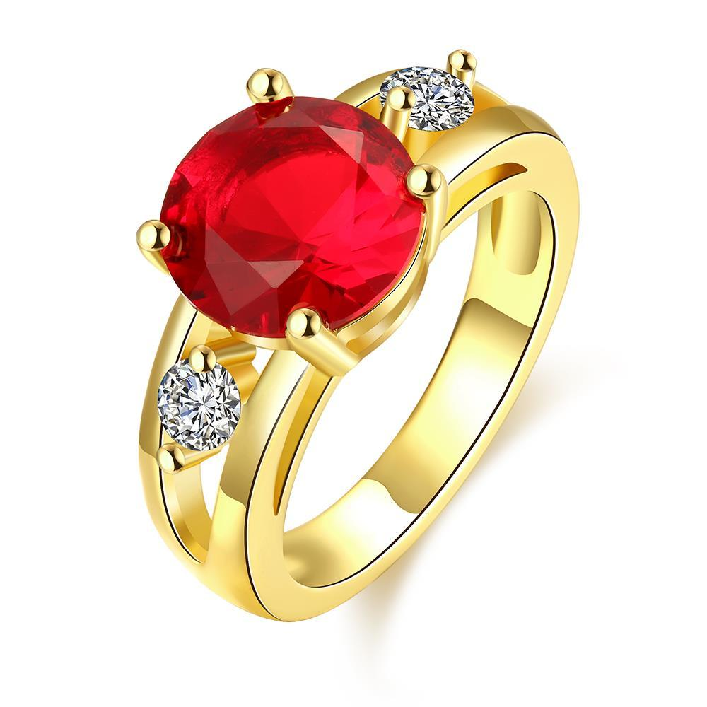 Vienna Jewelry Gold Plated Classical Ruby Ring