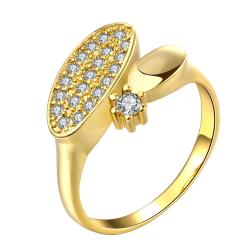 Vienna Jewelry Gold Plated Nature Twist Promise Ring - Thumbnail 0