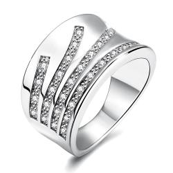 Vienna Jewelry White Gold Plated Five Jewels Line Ring - Thumbnail 0