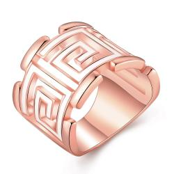 Vienna Jewelry Rose Gold Plated White Lining Square Ring Size 8 - Thumbnail 0