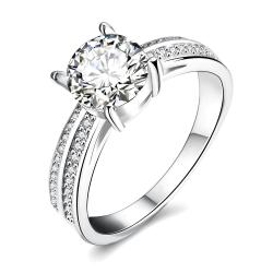 Vienna Jewelry White Gold Plated Madison Ave Inspired Ring - Thumbnail 0