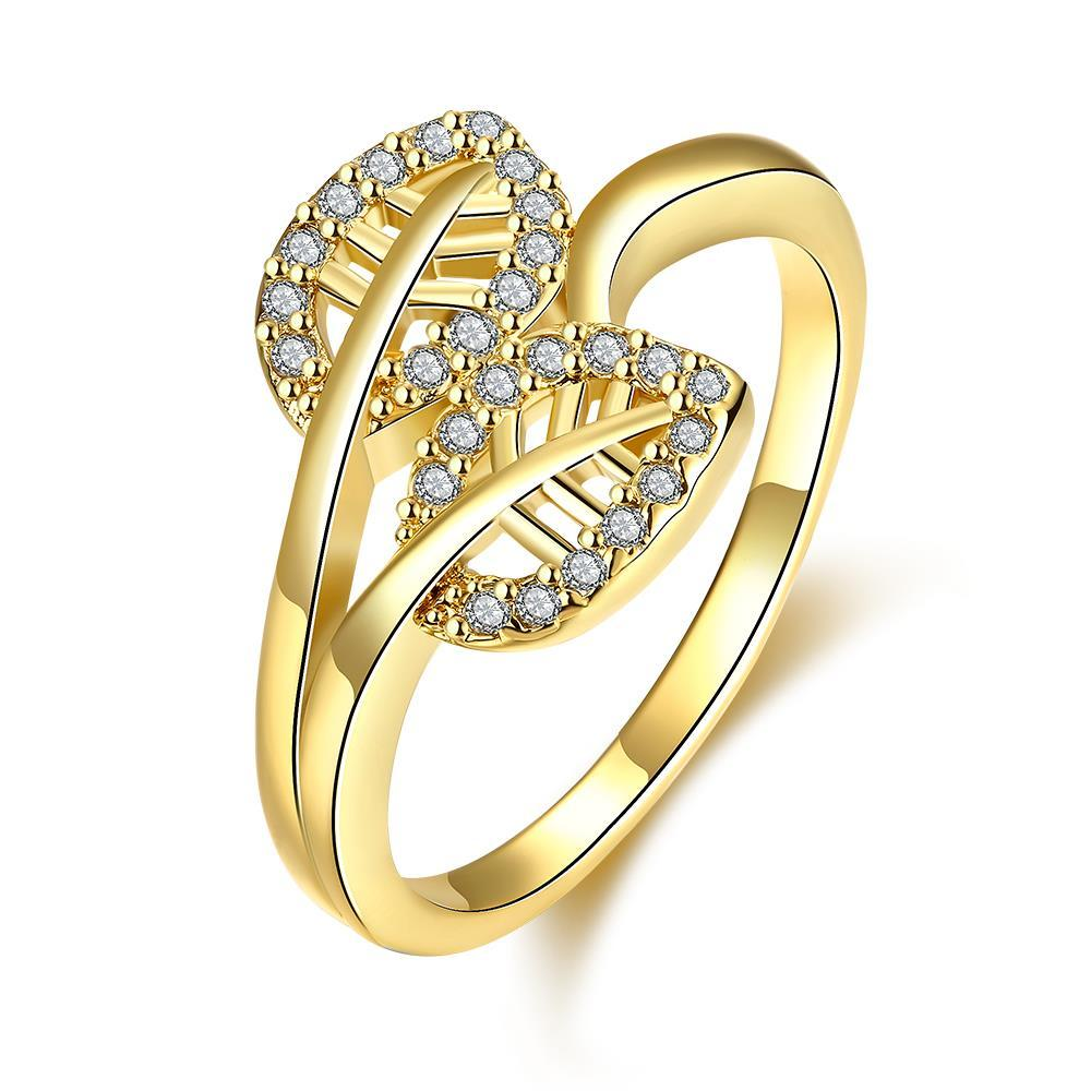 Vienna Jewelry Gold Plated Double Leaf Branch Ring