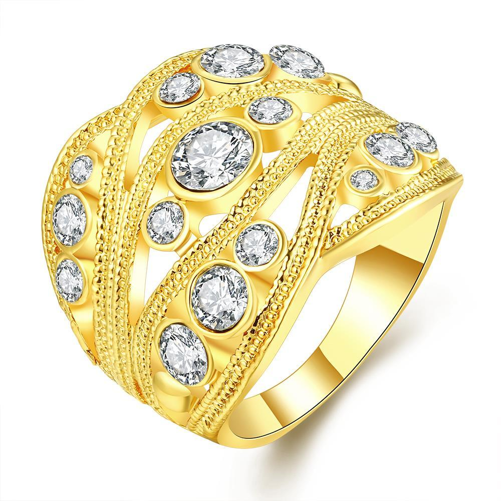 Vienna Jewelry Gold Plated Crystal Inline Geo Ring Size 7