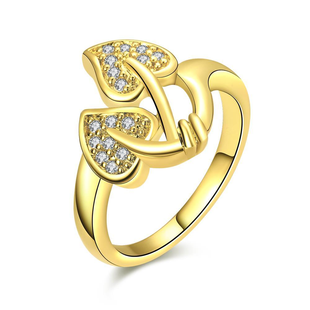 Vienna Jewelry Gold Plated Floral Leaf Ring