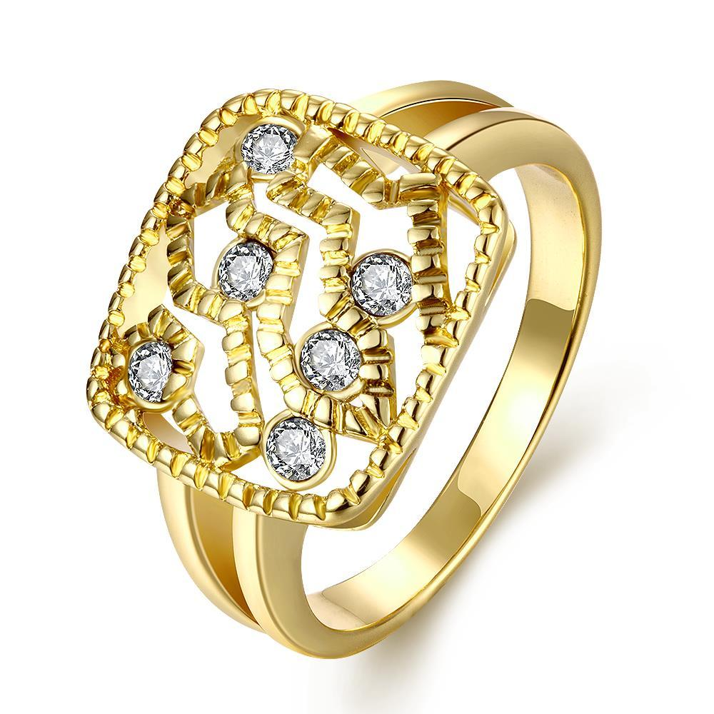 Vienna Jewelry Gold Plated Square Faced Jewel Insert Ring