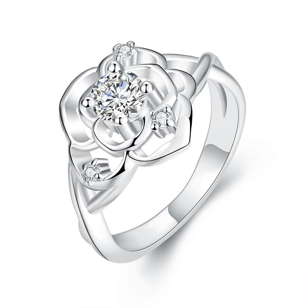 Vienna Jewelry White Gold Plated Blossoming Floral Ring