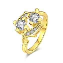 Vienna Jewelry Gold Plated Double Jewel Ring - Thumbnail 0