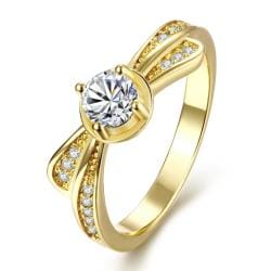 Vienna Jewelry Gold Plated Petite Crystal Ring - Thumbnail 0