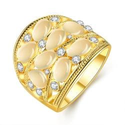 Vienna Jewelry Gold Plated Ivory Onyx Setting Ring Size 7 - Thumbnail 0