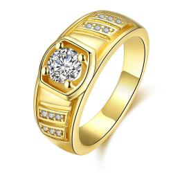 Vienna Jewelry Gold Plated Solitaire Crystal Ring - Thumbnail 0
