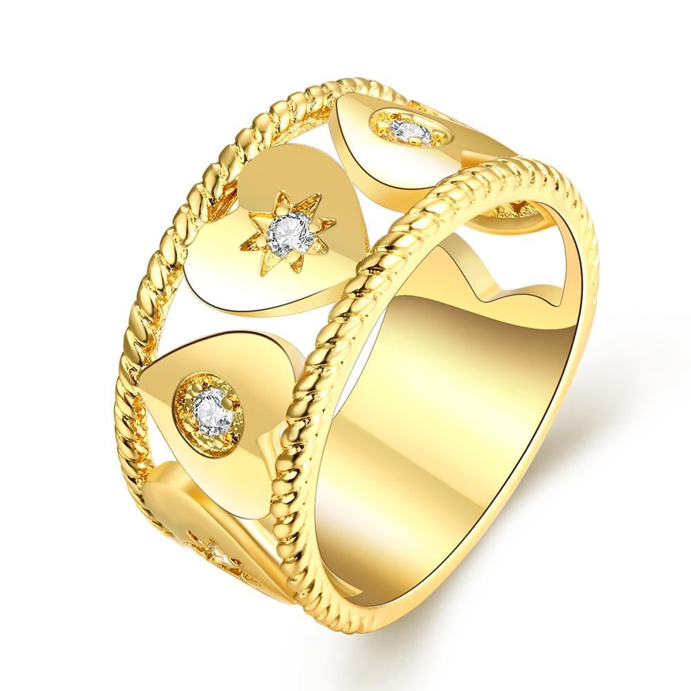 Vienna Jewelry Gold Plated Mini Heart Ingrained Ring