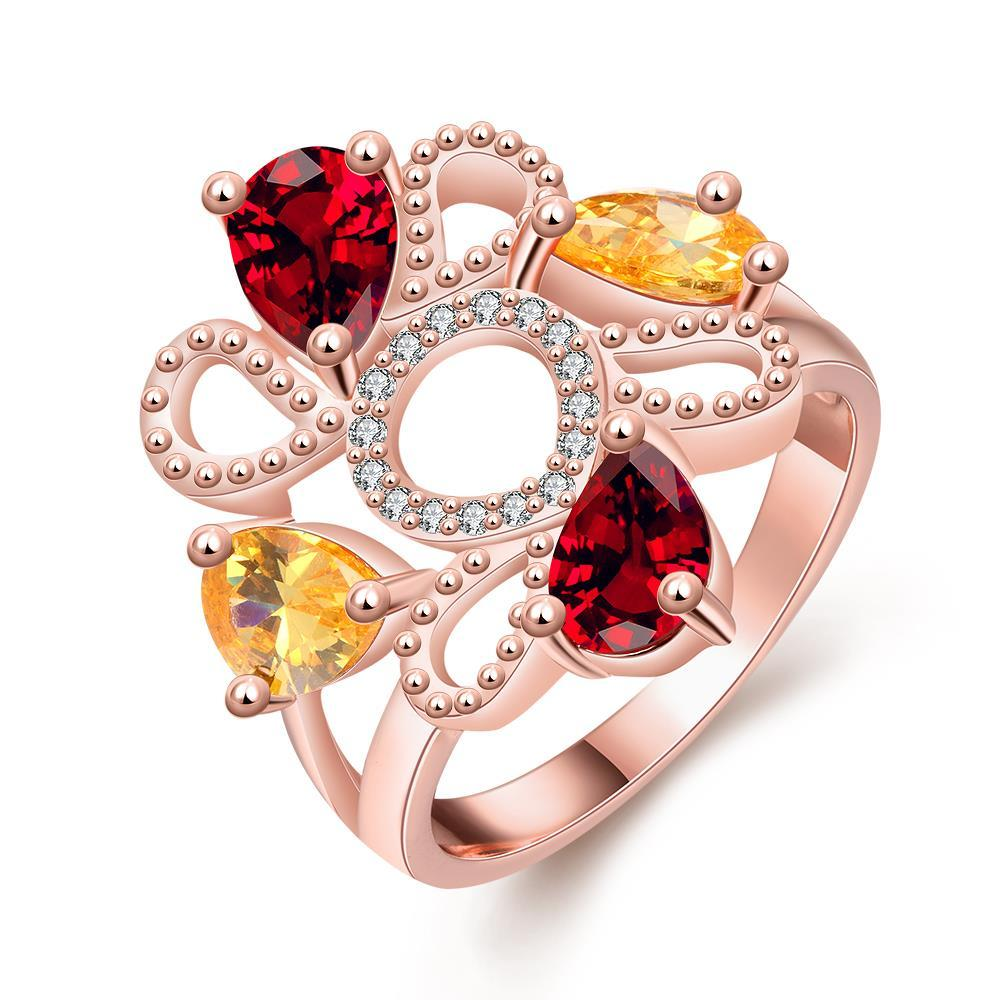 Vienna Jewelry Gold Plated Floral Quad-Gemstone Ring