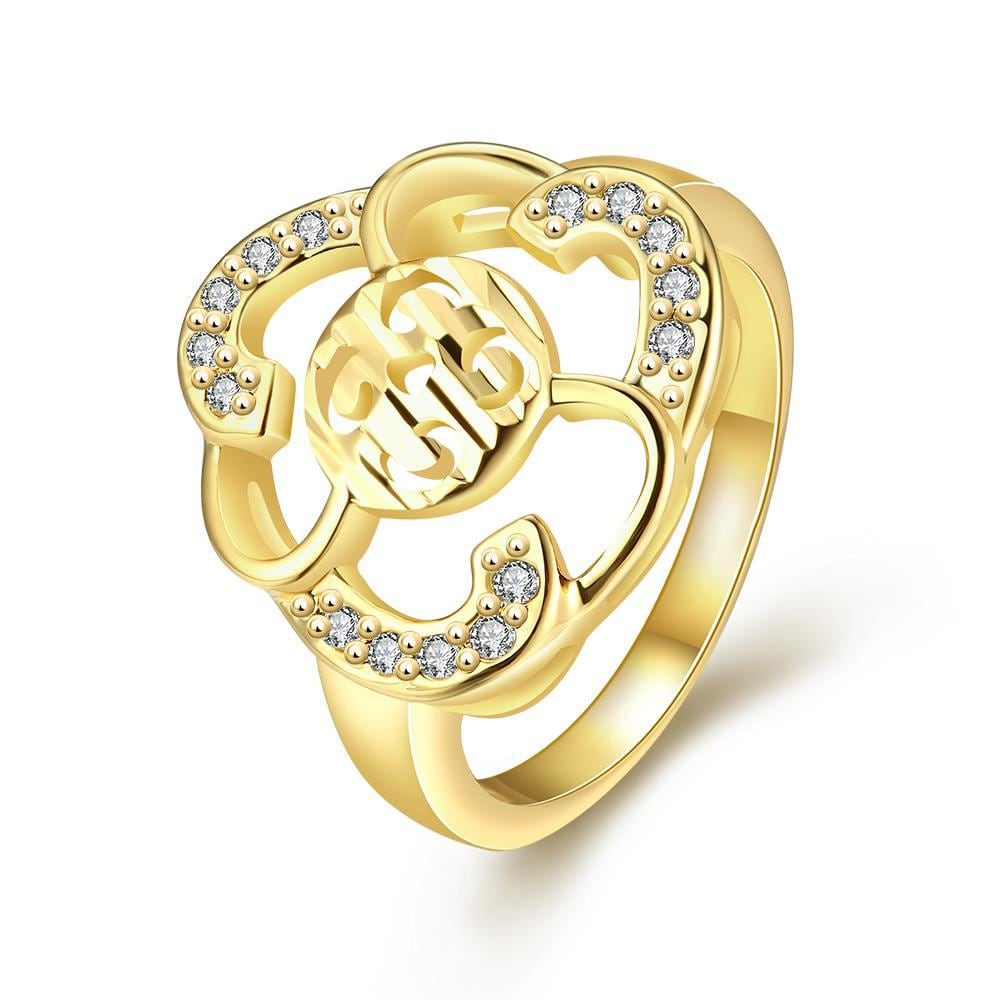 Vienna Jewelry Gold Plated Laser Cut Floral Cut Ring - Thumbnail 0