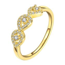 Vienna Jewelry Gold Plated Trio- Loop Ring - Thumbnail 0