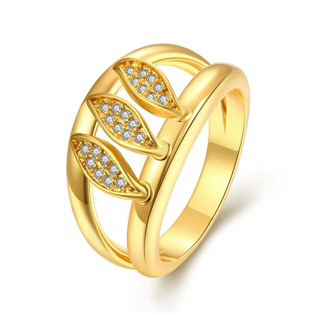 Vienna Jewelry Gold Plated Tri-Olive Branch Ring