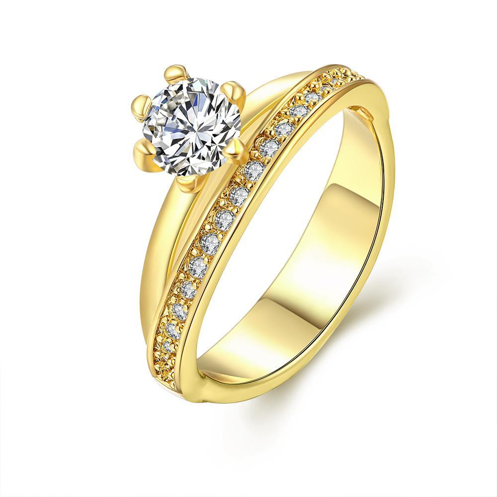 Vienna Jewelry Gold Plated Circular Curved Crystal Ring