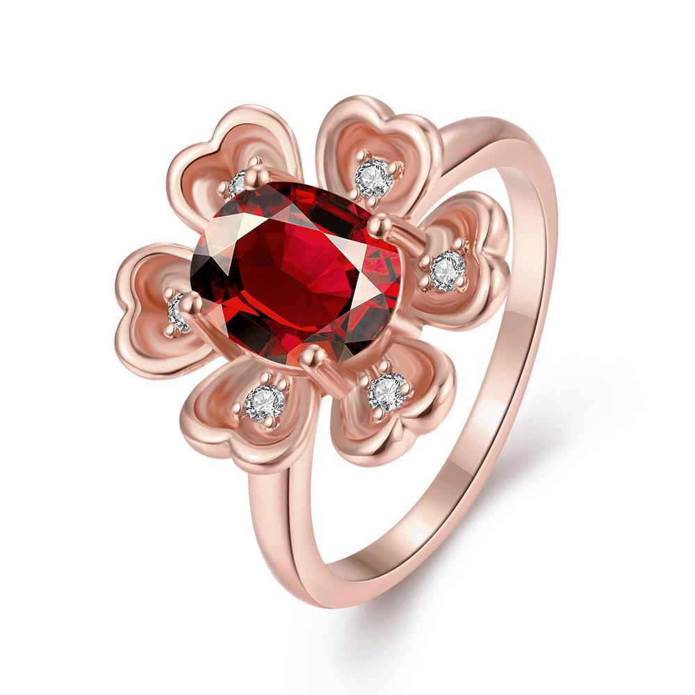 Vienna Jewelry Gold Plated Clover Inspired Gemstone Ring