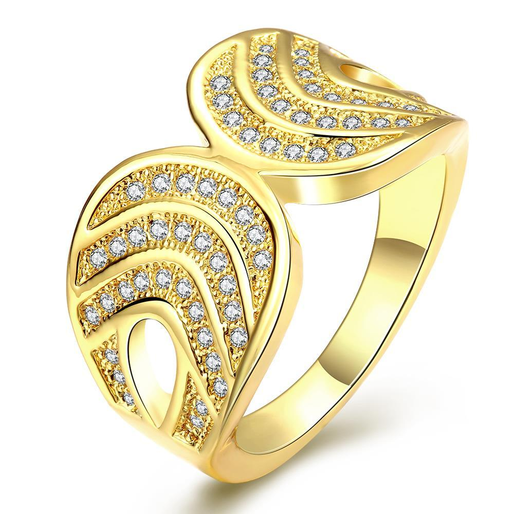 Vienna Jewelry Gold Plated Double Lined Infused Ring