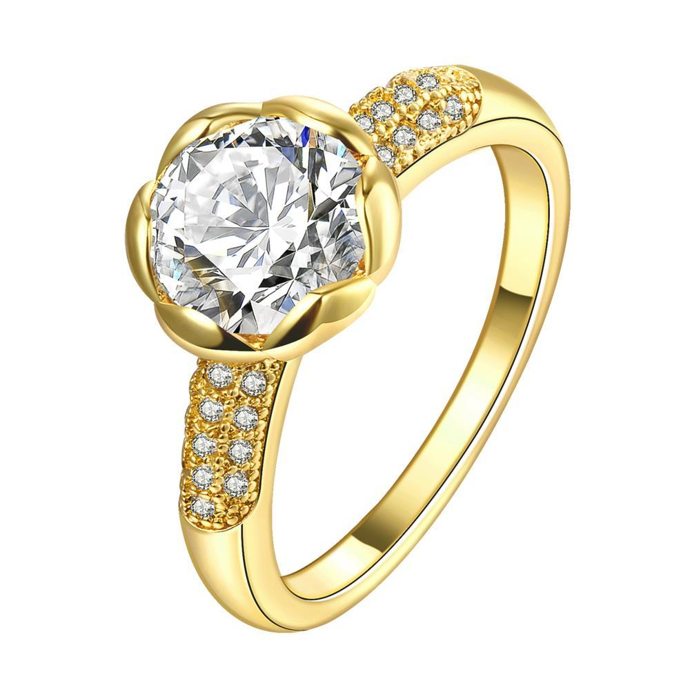 Vienna Jewelry Gold Plated Crystal Floral Ring