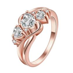 Vienna Jewelry Gold Plated Trio-Crystal Hearts Ring - Thumbnail 0