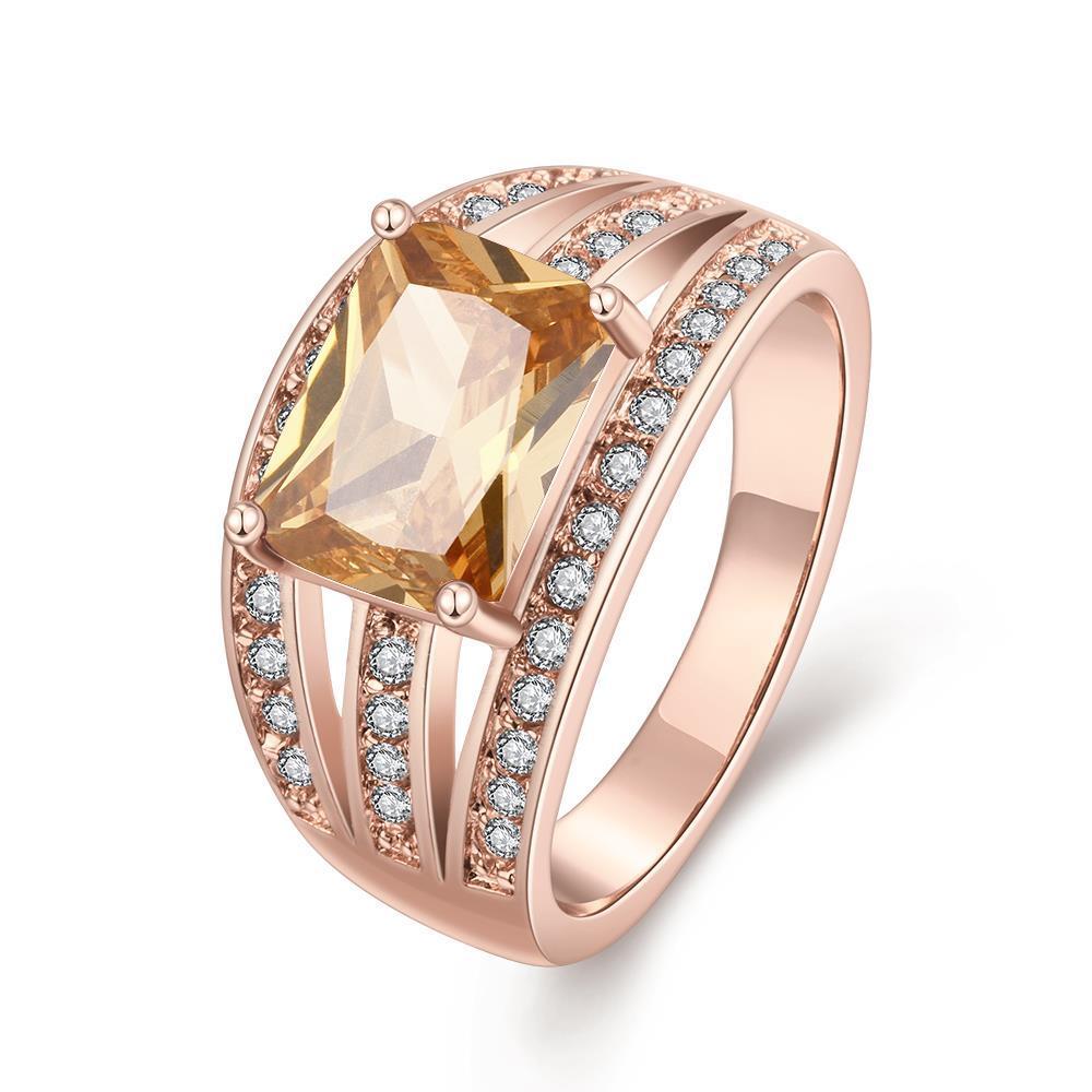 Vienna Jewelry Gold Plated Medium Size Gemstone Ring