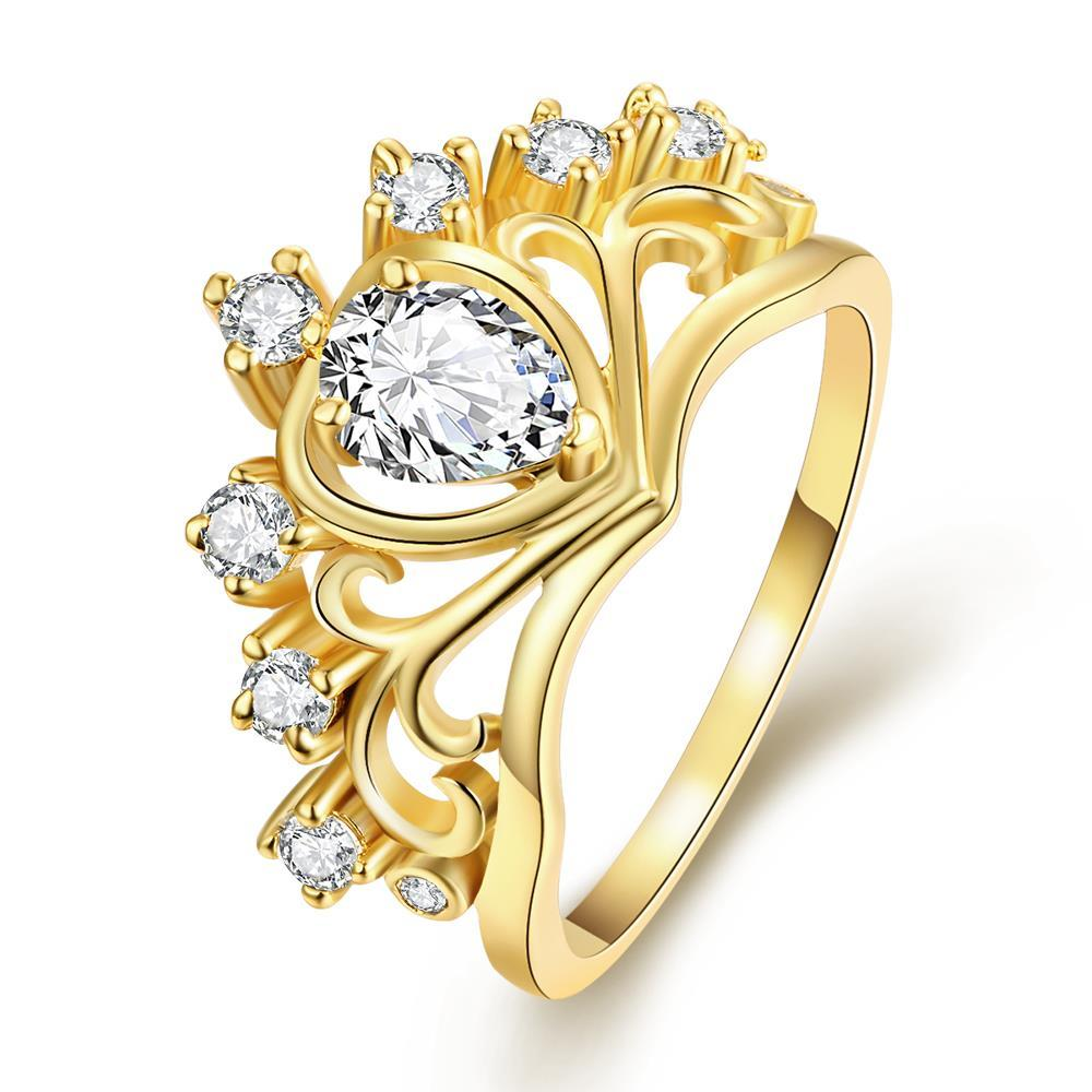 Vienna Jewelry Gold Plated Princess's Tiara Ring
