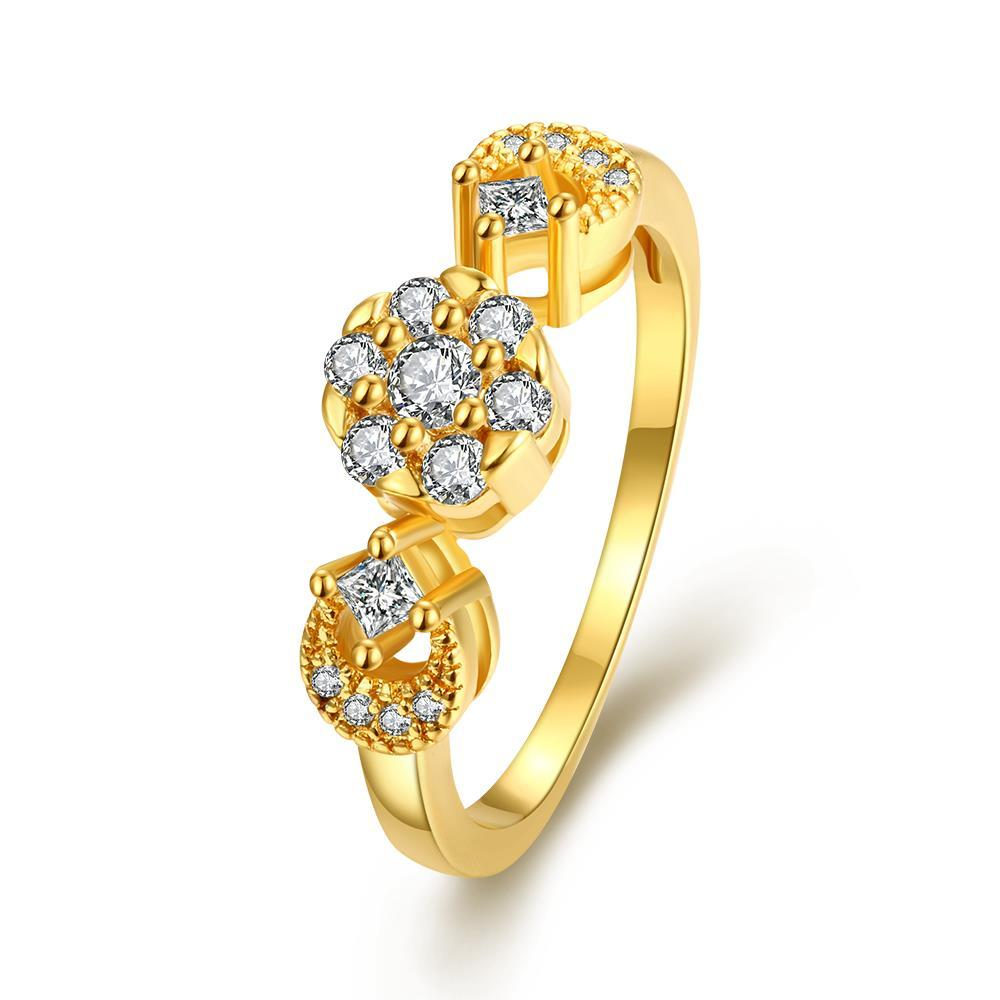 Vienna Jewelry Gold Plated Swirl Ring with Pave' Crystal Ring