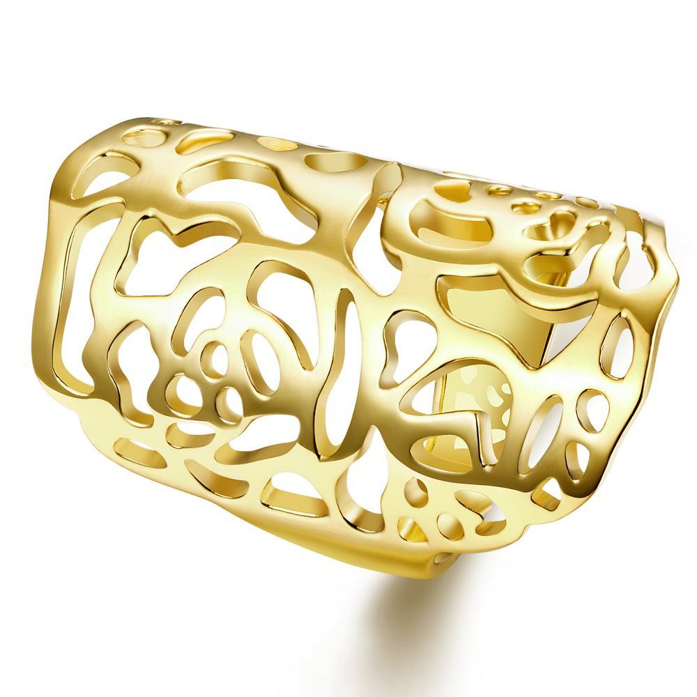 Vienna Jewelry Gold Plated Laser Cut Vertical Ring