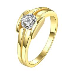 Vienna Jewelry Gold Plated Triple Cluster Jewel Ring - Thumbnail 0