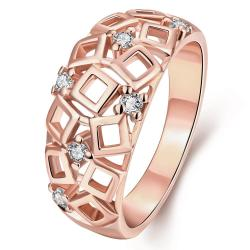 Vienna Jewelry Gold Plated Cubed Inspired Laser Cut Ring - Thumbnail 0