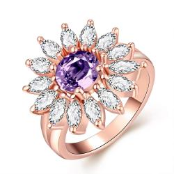 Vienna Jewelry Gold Plated Purple Citrine Blossoming Ring - Thumbnail 0
