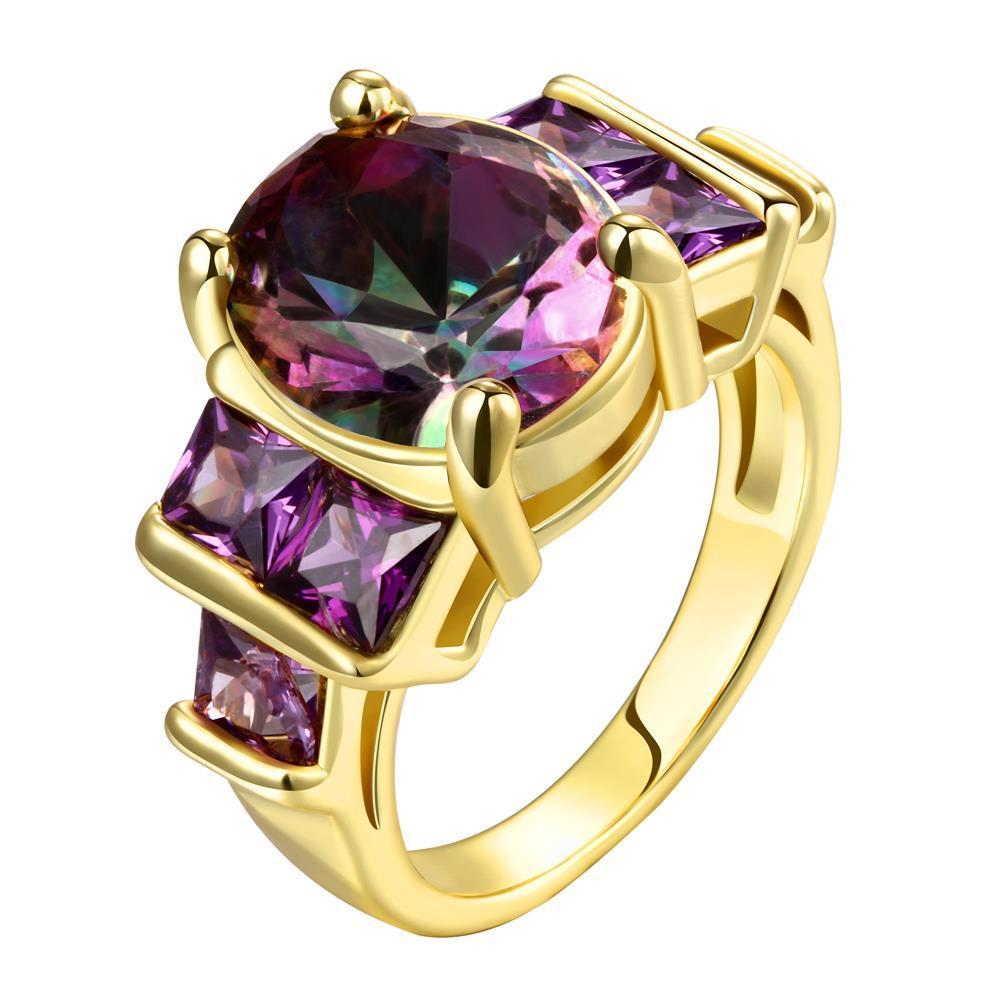 Vienna Jewelry Gold Plated Citrine Gem Accents Classical Ring