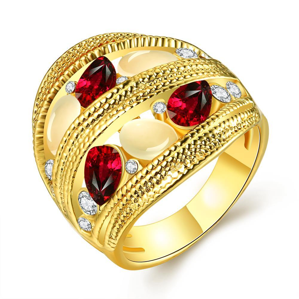Vienna Jewelry Gold Plated Trio Twisted Grape Vine Line Petite Ruby Ring Size 7