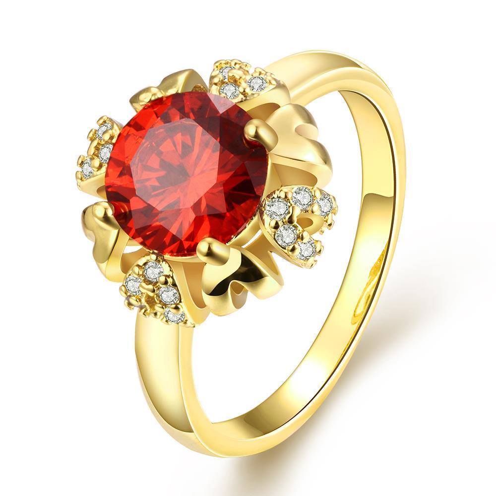 Vienna Jewelry Gold Plated Blaring Sun Design Gemstone Ring