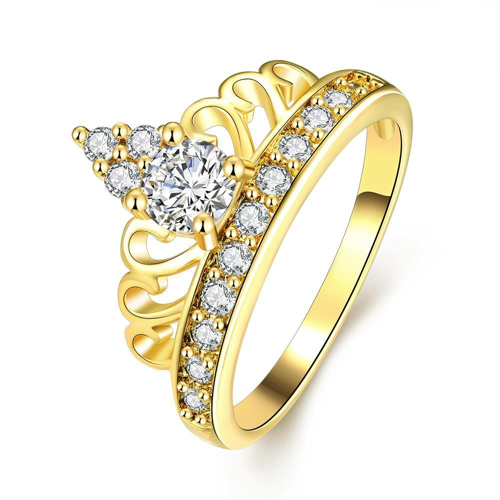 Vienna Jewelry Gold Plated Arrow Spear Crystal Jewel Ring