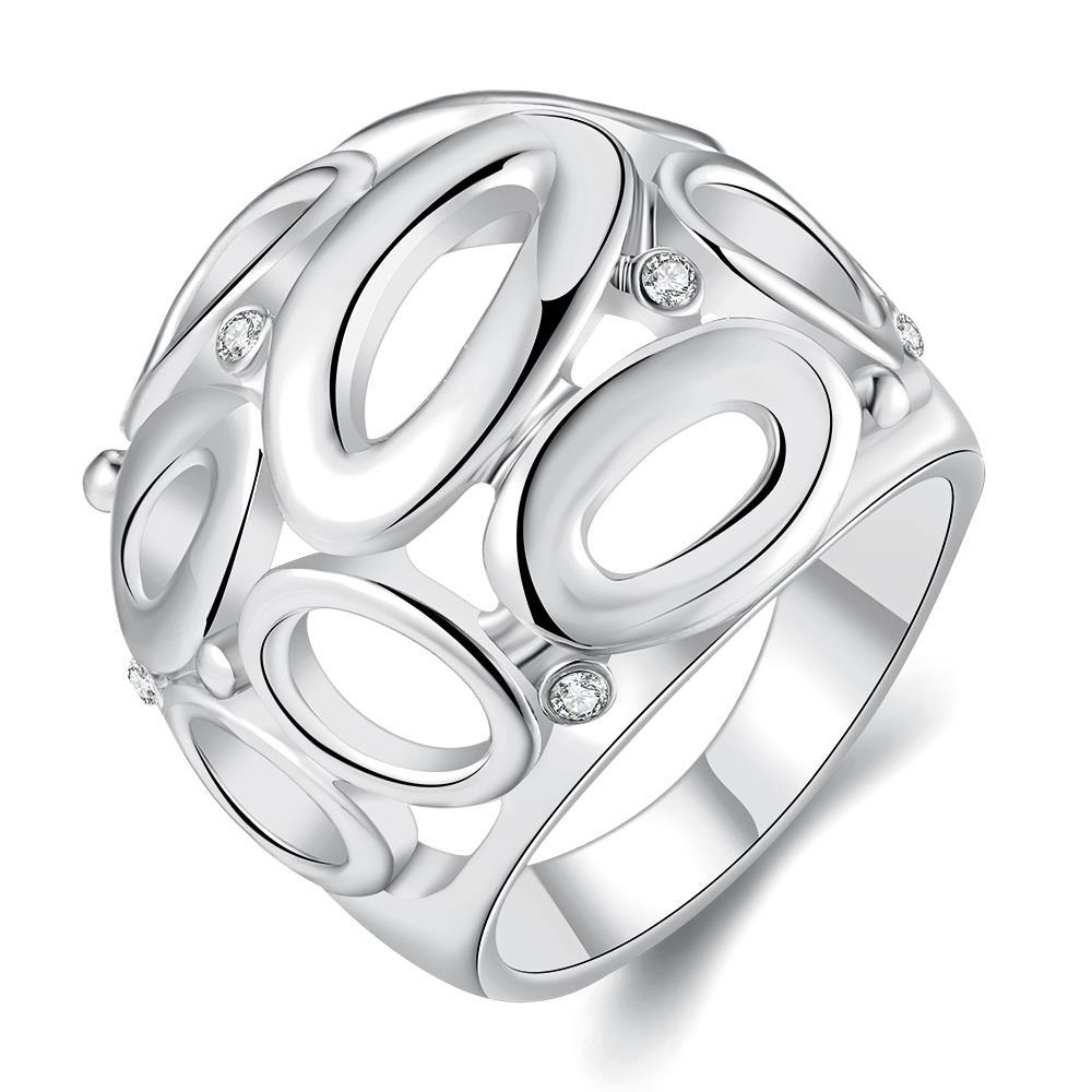 Vienna Jewelry White Gold Plated Laser Cut Circular Hollow Ring Size 8