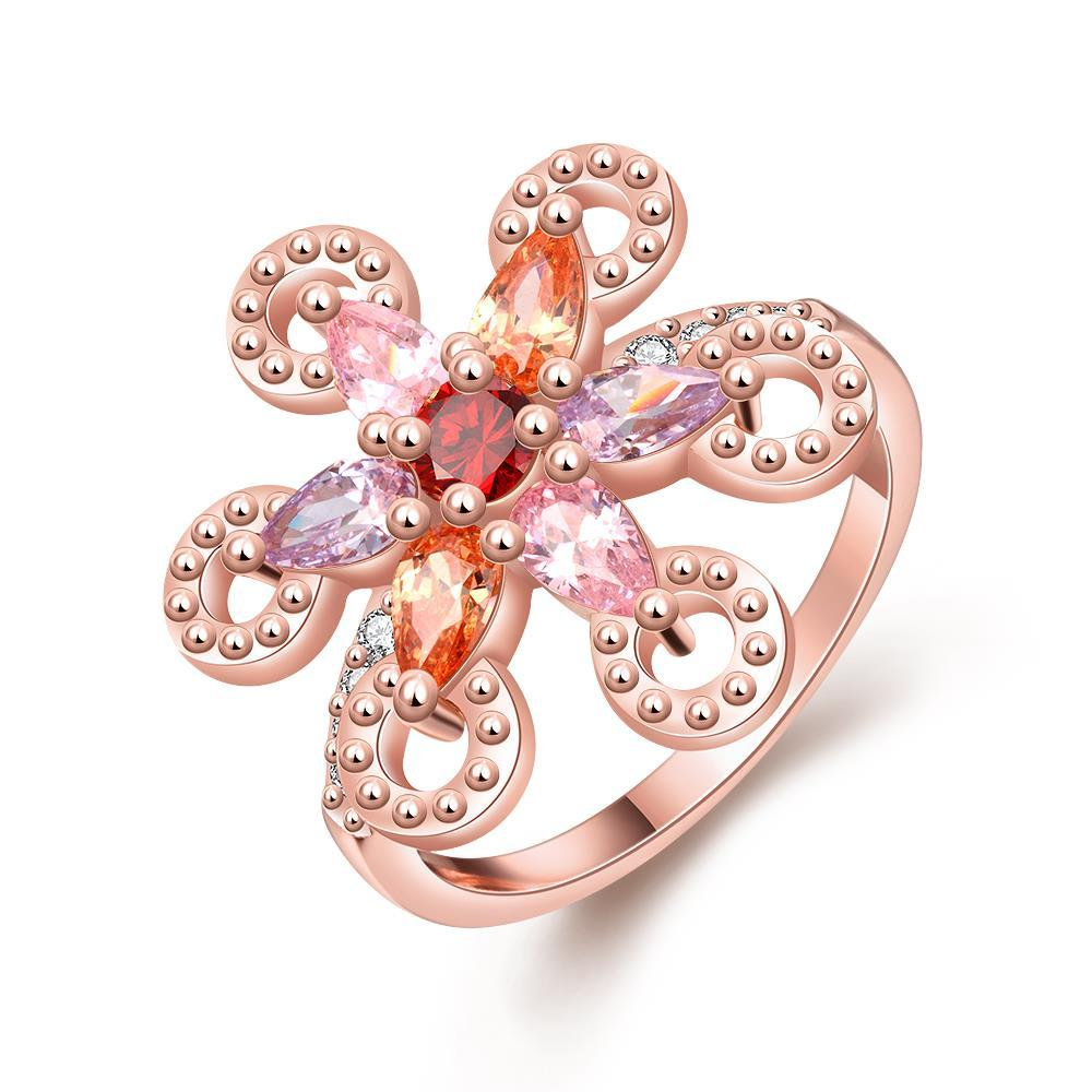 Vienna Jewelry Gold Plated Colorful Clover Ring