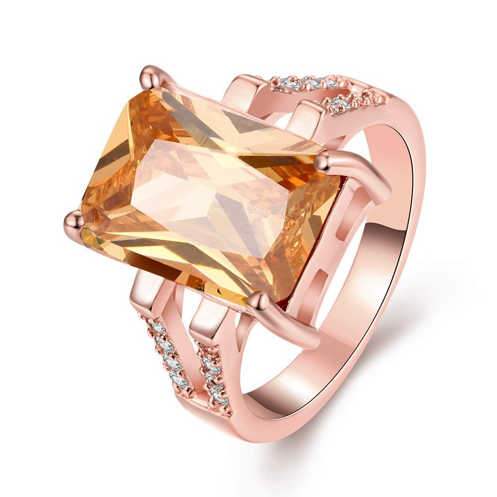 Vienna Jewelry Gold Plated Classical Gemstone Cut Ring