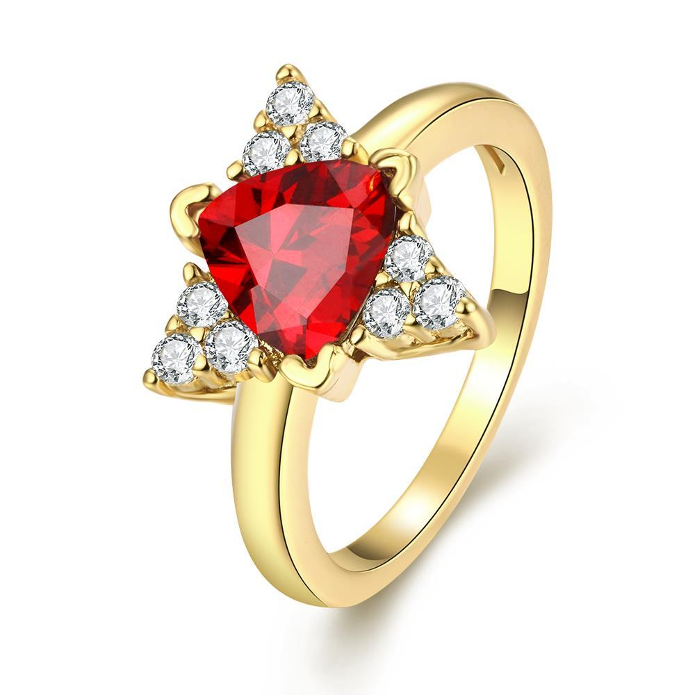 Vienna Jewelry Gold Plated Triangular Shaped Gemstone Ring